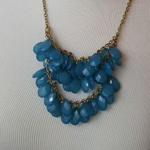 "Jewelry - Statement Necklace--Blue/""Gold"""
